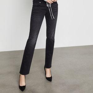 BCBG Max Azria Womens Black Denim Distressed Jeans